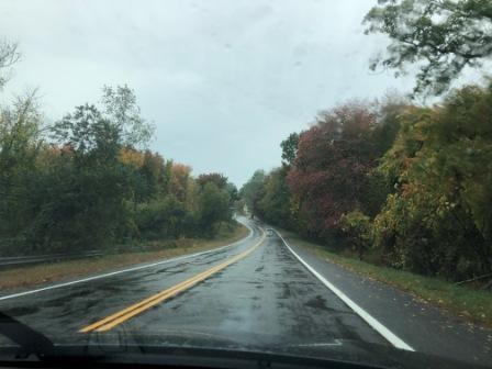 Rainy fall day on highway to I95