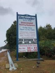 """Signage for """"Defender"""""""