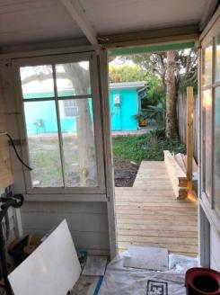 Back door with deck